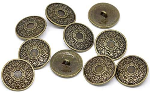 Metallknöpfe 10 Stück mit Keltik-Muster antik Bronze Ø ca. 25mm Lochgröße 2,6mm
