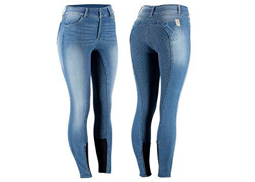 netproshop Jeans Reithose Kaia High Waist mit Silikon-Vollbesatz und schöner Stickerei, Damengroesse:36, Farbe:Jeansblau