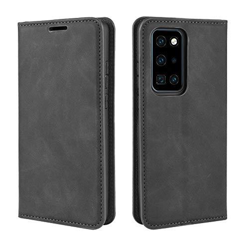 Haoye Passend für Huawei P40 Pro Hülle, hat Magnet-Adsorption-Fähigkeit Premium PU Leder Handyhülle. Schwarz