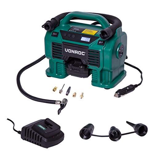 VONROC Compresor VONROC VPower 20V - Batería de 20V y enchufe de 12V para el encendedor de cigarrillos - 11 bar - Incl. 8 accesorios - Incl. batería y cargador de 2.0Ah