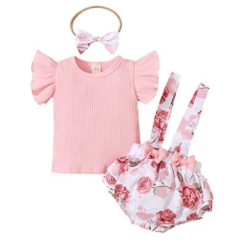 L&ieserram Florali - Conjunto de 3 piezas de ropa de niña con estampado de flores, estampado de leopardo, con lazo, camiseta de manga corta y camiseta de manga corta Rosa 3-6 Meses