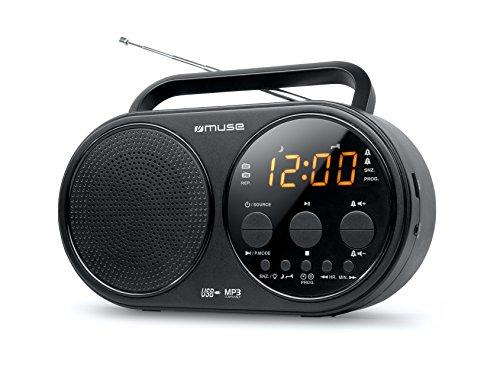 Muse M-088 R draagbare radio met USB (dual wekker, sluimer-inslaapfunctie, barsteen display met dimmer, MP3 AUX-in, telescopische antenne) zwart