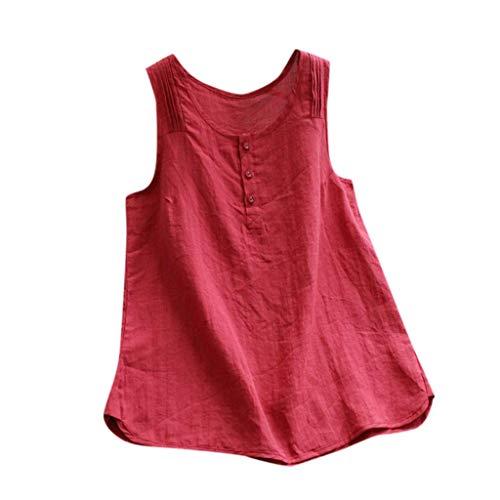 VEMOW Camiseta Tops Mujeres Lanzamiento de Ventas Tallas Grandes Tallas de Lino Vintage sólido sin Mangas Flojo Chaleco Blusa(Rojo,M)