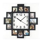 Marcos Fotos Reloj De Pared Negro Moderno Marcos De Fotos El Plastico2 En 1 Bricolaje Reloj De Pared Cuadrado para La Decoración del Patio De La Sala De Estar del Hogar