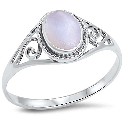 Oxford Diamond Co Oval Pearl .925 Sterling Silver Ring Size 7