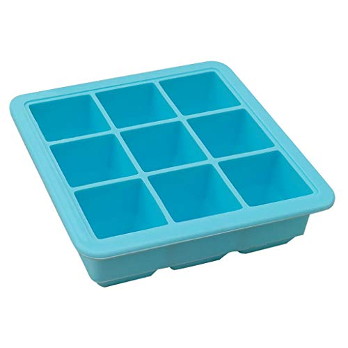 MULIN 9 Cavities Design Ice Trays, with Removable Lid,Reusable, for Adult & Children Food, Safe to be used in The Freezer, Food-Grade Safety Material Ice Molds Blue