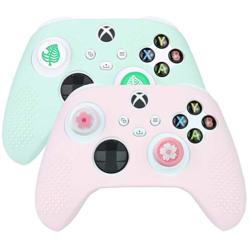 Aosai Anti-Slip Controller Grip Silicone Skin, Ergonomic Soft Rubber Protective Case Cover for Xbox Series S/X Controller x 2 with Thumb Stick Caps x 4 (Light Pink + Mint Green)