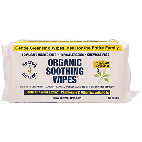 Dr Butler's Organic Soothing Wipes – All Natural, Hypo-Allergenic Hemorrhoid Treatment Wipes to Help Moisturize and Soothe Dry Sensitive Skin with Chamomile and Essential Oils (1 Pack – 60 Count)