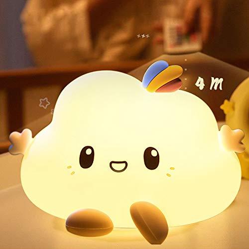 Yafido Regulable Nube Luz Nocturna Infantil Luz Quitamiedos Bebé Silicona lámpara táctil con Multicolor Remoto para Niños Habitación,Dormitorio,Sala,Pasillos