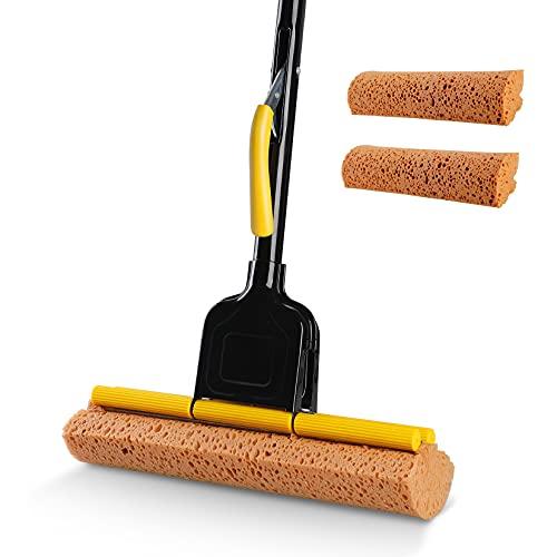 Eyliden Sponge Mop Home Commercial Use Tile Floor Bathroom Garage Cleaning Easily Dry Wringing Iron Handle Pole 56.3Inch Model F-20 with 2 Sponge Head