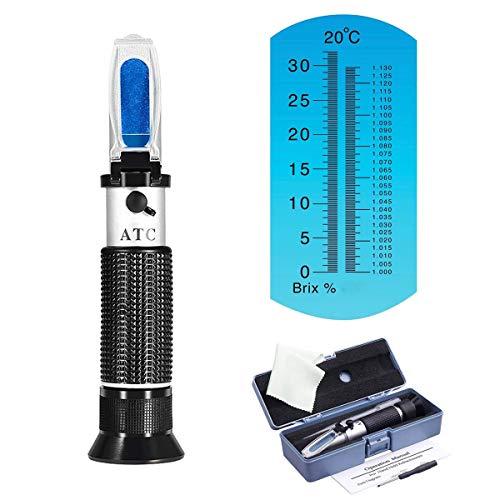 Zuckergehalt Refraktometer,refraktometer honig,Refraktometer 0-32 Brix Wein Refraktometer zur Messung des Zuckeranteils mit ATC Handrefraktometer für Winzer Wein Bier Obst uswHydrometer