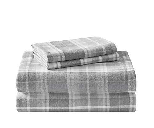 Laura Ashley Home - Flannel Collection - Sheet Set - 100% Cotton, Ultra-Soft Brushed Flannel, Pre-Shrunk & Anti-Pill, Machine Washable Easy Care, Queen, Mulholland Plaid Grey