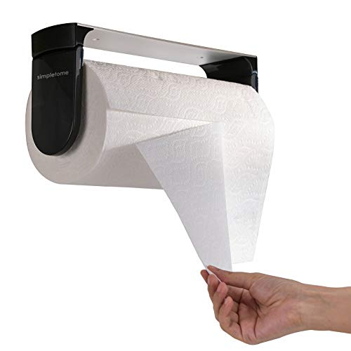 simpletome ONE Hand Tear Paper Towel Holder Under Cabinet Adhesive or Drilling Installation Aluminum Alloy + ABS (Black)