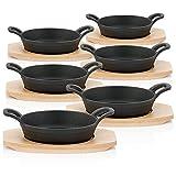 BBQ-Toro Sartenes de hierro fundido con base de madera  Ø 16 cm...