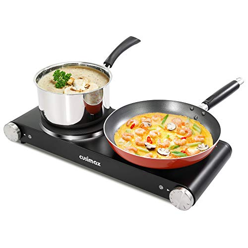 Double Hot Plates, Cusimax 1800W Double Burner, Portable Electric Hot Plate for Cooking, Countertop Cooktop, Cast Iron Stove, Heating Plate, Compatible for All Cookwares, Upgraded Version