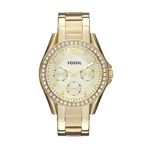 Fossil Women's Riley Quartz Stainless Multifunction Watch, Color: Gold (Model: ES3203)