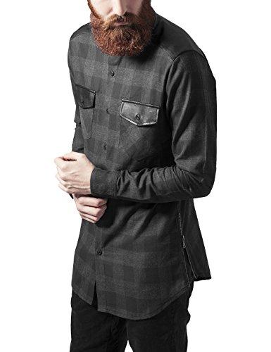Urban Classics Side Zip Leather Shoulder Flanell Shirt Camicia, Multicolore (Blk/Cha 445), S Uomo
