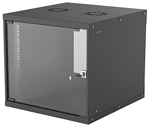 kab24® Basic Line Netzwerkschrank Serverschrank Wandhehäuse Netzwerk Wandschrank Wandverteiler SOHO Schrank schwarz 19 Zoll 9 HE H:50 x B:54 x T:56cm