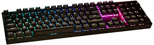 Redragon K551-RGB Mechanical Gaming Keyboard with Cherry MX Blue Switches Vara 104 Keys Numpad Tactile USB Wired Computer Keyboard Steel Construction for Windows PC Games (Black RGB LED Backlit)