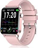 andfive Smartwatch, Reloj Inteligente Mujer con IP68 Monitor de Sueño y Pulsómetros, Reloj Deportivo con Podómetro Calorías, Pulsera Actividad Inteligente 1.4 Inch para Hombre iOS Android (Rosa)