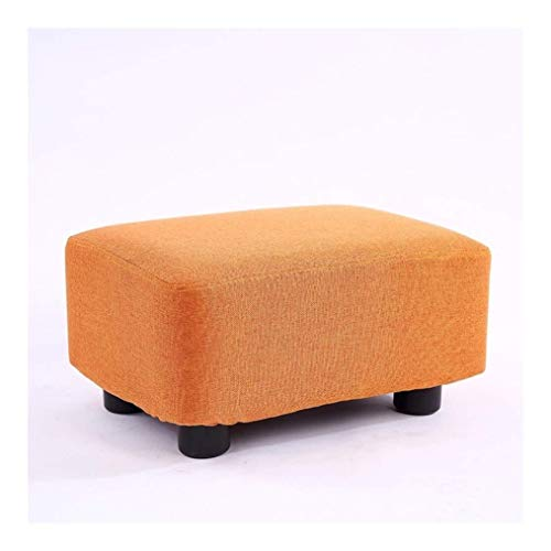 CHU N Sofa Taburete, Cuadrados macizos de Madera de Baja Sala de Estar Mesa de cafe de Tela Cambiar Zapatos Inicio pequeno Banco (38x27x20cm) (Size : Orange)