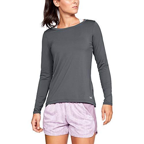 Under Armour Damen Langarm-Shirt HeatGear Armour Kurzarmoberteil, Pitch Gray Light Heather/Metallic Silver (012), MD, 1328966-012