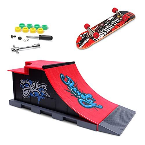 MOMSIV Mini Rampe de Skateboard pour Les Doigts et Ensemble d'accessoires, c