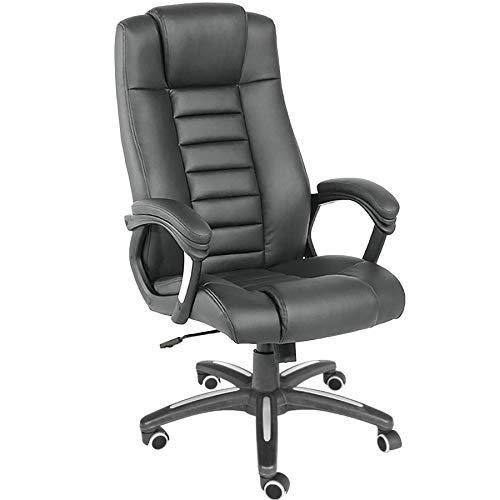 TecTake 400585 Chefsessel Bürostuhl mit sehr hochwertiger Polsterung, schwarz
