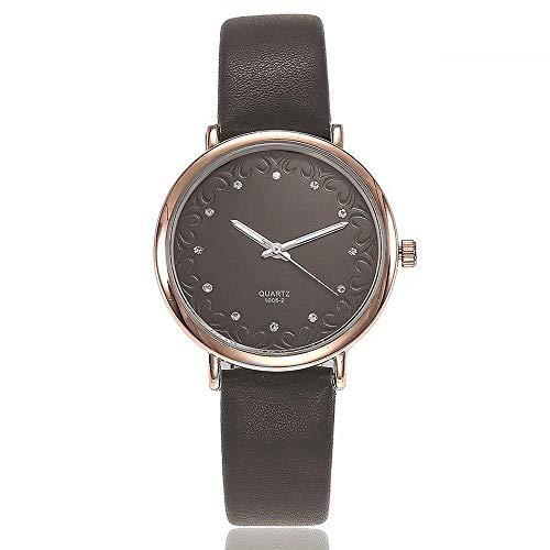 Uhren Damenuhren Watches Armbanduhren WatchFrauenrhinestone-Kleid-Uhr-Art- Und Weiselederdamen-Quarz-Armbanduhren Borduhr-Grau