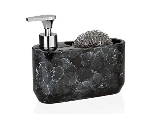 Dispensador líquido vajilla y puerta esponja cerámica efecto mármol negro