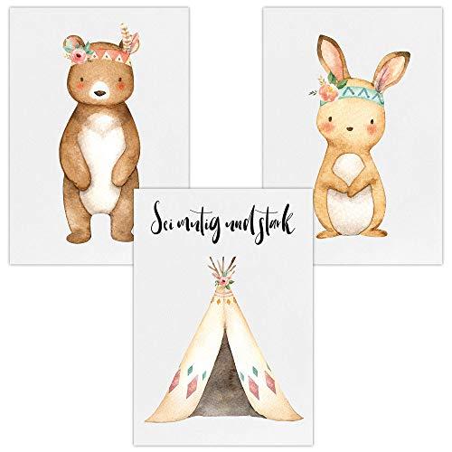 Wandbilder 3er Set für Baby & Kinderzimmer Deko Poster | Kunstdruck DIN A4 ohne Rahmen und Dekoration (Sei mutig und stark