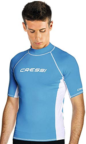 Cressi Herren T-shirt Rash Guard UV Sun Protection (UPF), Hellblau/Weiß, Gr. 50 (Herstellergröße:M/3)
