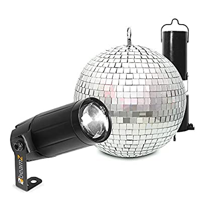 beamz Battery Powered Hanging Glitter Mirror Ball 20cm & PS6WB LED Spot Light for Wedding Disco Prom Dance Hall