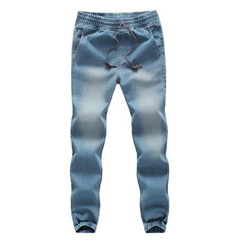 UJUNAOR Herren Sweathose in Jeansoptik Jogg-Jeans Männer Freizeit-Hose Jeans Jogginghosen Slim Fit Jogger Vintage Sweathose Hose(Hellblau,EU 54/CN 5XL)