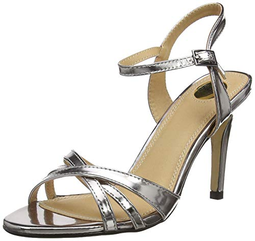Buffalo Shoes Damen 312703 METALLIC PU Knöchelriemchen, Silber (Pewter 01), 40 EU