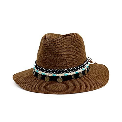 LHZUS Sombrero de paja para mujer, sombrero de jazz, sombrero de playa al aire libre, sombrero de playa, borla de color trenzado, cuerda Panamá (color: café, tamaño: 56-58 cm)