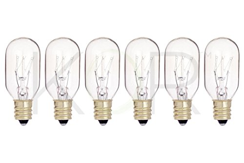(Pack of 6) 15T7/C - 15W Clear Incandescent Salt Lamp & Appliance Bulb - T7 Light Bulb - with Candelabra E12 Base - 15T7