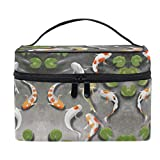 Lotus Leave Fish Bolsa de maquillaje bolso bolso lindo pescado cosmético neceser viaje cepillo tren caso para mujeres cremallera portátil multifuncional organizador bolsa bolsa bolsa bolsa bolsa caja