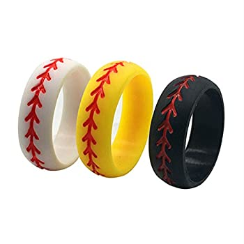 Silicone Wedding Ring for Men Baseball,3 Packs Comfortable Fit 2.5 mm Thickness,from The Latest Artist Design Innovations to Leading Edge Comfort  9.5-10