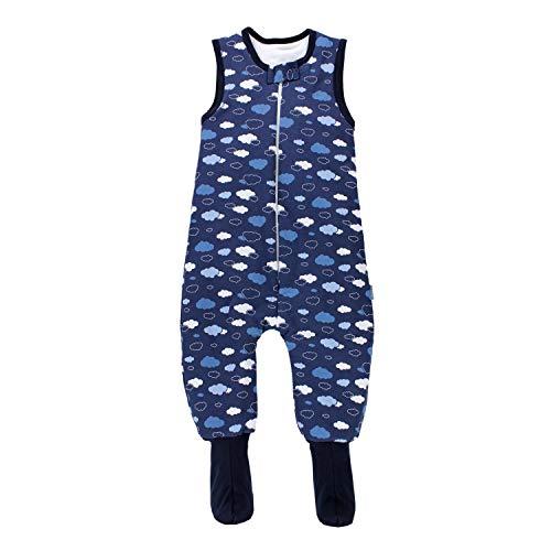 TupTam Baby Winter Schlafsack mit Beinen und Füßen, Farbe: Wolken Dunkelblau, Größe: 92-98