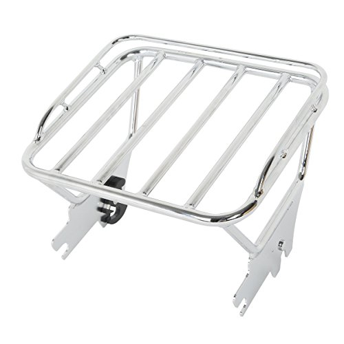 XFMT Chrome Detachable Luggage Rack Compatible with Harley Touring Glide Road King FL 97-08 07 06