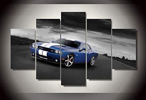 GSDFSD Cuadro En Lienzo 200X100 Cm B5 Azul Challenger SRT Srt8 con Rayas Impresión De 5 Piezas Material Tejido No Tejido Impresión Artística Imagen Gráfica Decoracion De Pared Ciudad