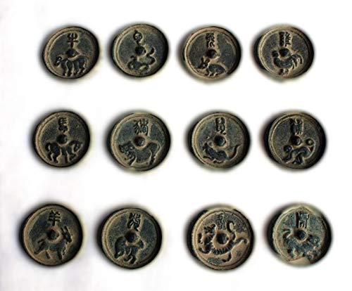 LAOJUNLU Espejo de Bronce Antiguo Doce Zodiaco Espejo de Bronce Botón Espejo Doce Joyas de Estilo Tradicional Chino