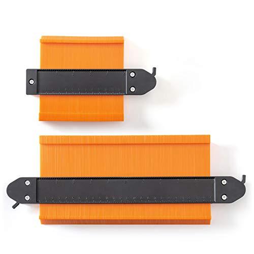Konturenlehre mit Feststeller, 2 Stücke 250mm und 120mm Duplikator Wickelrohre Holz Markierungswerkzeug Profil Kopierer mit Skala unregelmäßiges Konturmessgerät für präzise Messung