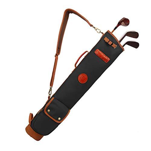 TOURBON Canvas golfklubb resväska lätt bärväska för män kvinnor - grön (svart)