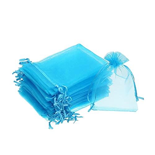 litulituhallo Bolsas de regalo de organza de 4 por 6 pulgadas, con cordón, para joyas, boda, fiesta, azul, 50 piezas, azul