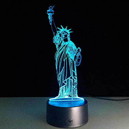 Mddjj Novelty Led Statue Of Liberty 3D Illusion Lamp Remote Touch Rgb 7 Color Changing Table 3D Night Light Home Decoration Schlafzimmerdekoration