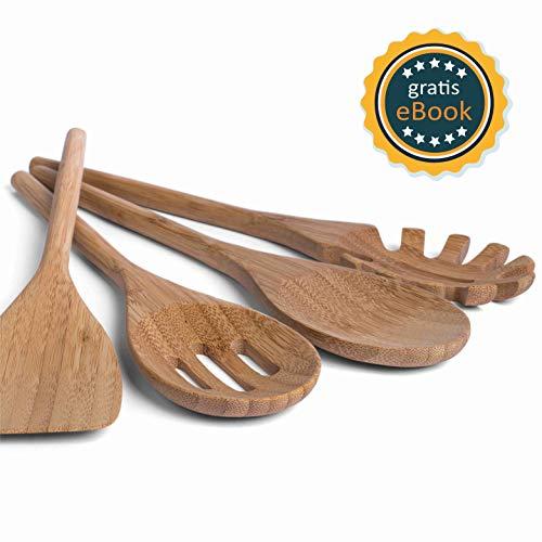 BASIL | Juego Utensilios de Cocina Bambú - Accesorios Cocina de Madera Ecológicos para Cocinar y Servir Alimentos - Juego de 4 Cubiertos: Cuchara, Espátula, Cucharón y Cuchara para Pasta y Ensalada