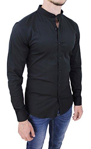 Camicia Uomo Cotone Slim Fit Nero Casual Elegante con Colletto Coreana (XL)