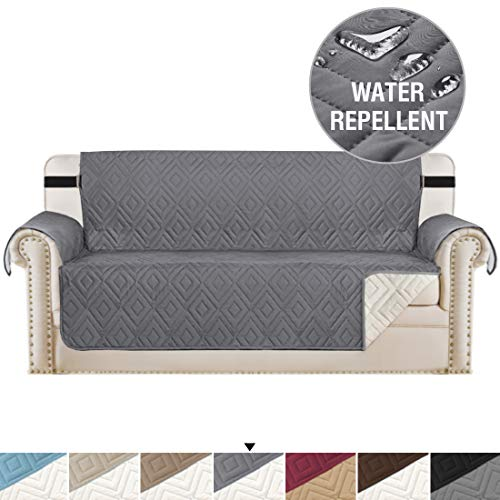 H.VERSAILTEX Reversible Sofa Slipcover Furniture Protector Water Resistant 2 Inch Wide Elastic Straps Sofa Cover Couch Covers Pets Kids Fit Sitting Width Up to 66' (Sofa, Gray/Beige)